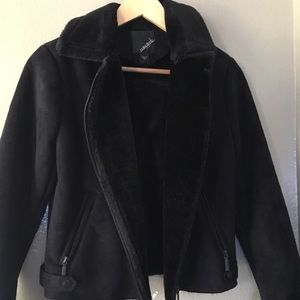 NY COLLECTION BLACK FAUX FUR JACKET